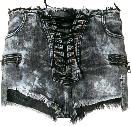 Ben Taverniti Unravel Project Faded lace-up shorts