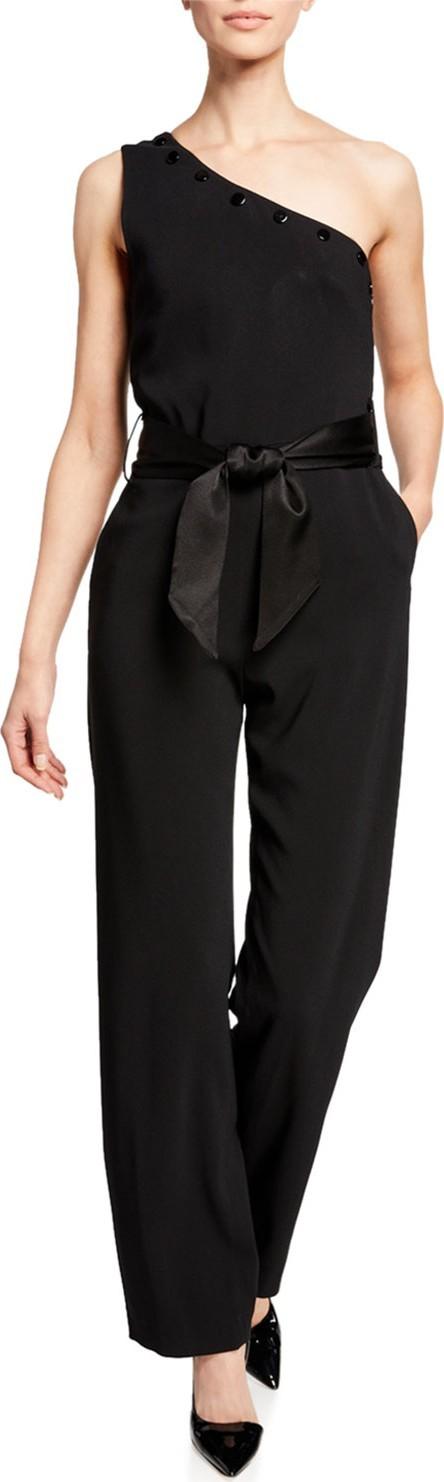 Carolina Ritzler Lauren One-Shoulder Bow-Waist Jumpsuit
