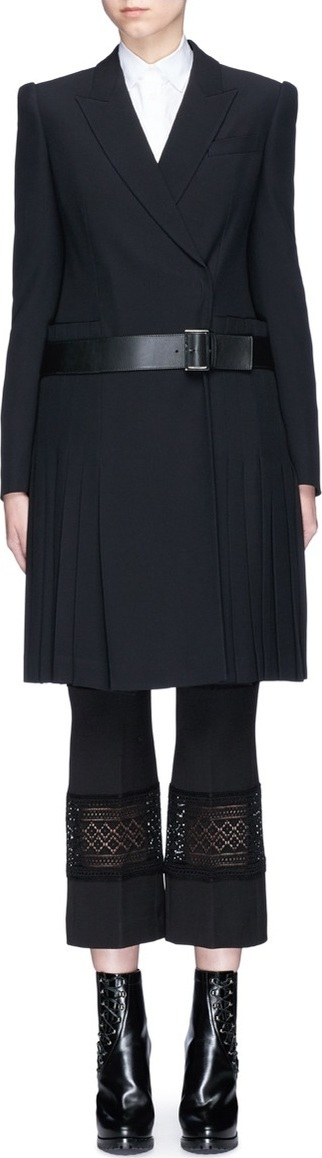 Alexander McQueen Pleated skirt belted leaf crepe coat