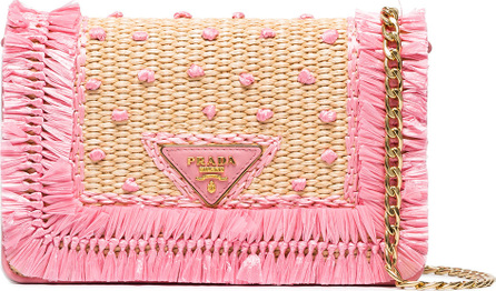 Prada Beige and pink raffia clutch