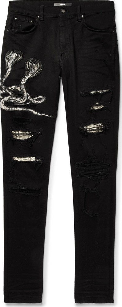 Amiri MX1 Skinny-Fit Appliquéd Faux Snake-Panelled Distressed Stretch-Denim Jeans