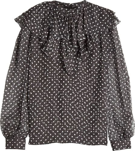 Giambattista Valli Printed Silk Chiffon Blouse with Ruffles