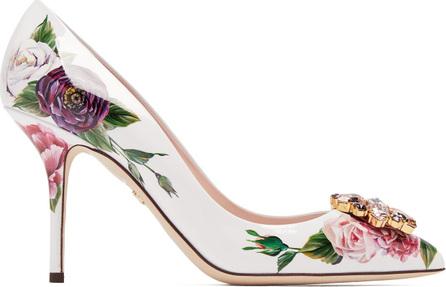 Dolce & Gabbana Rose-print patent-leather pumps
