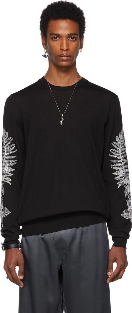 Alexander McQueen Black Embroidered Fern Sweater