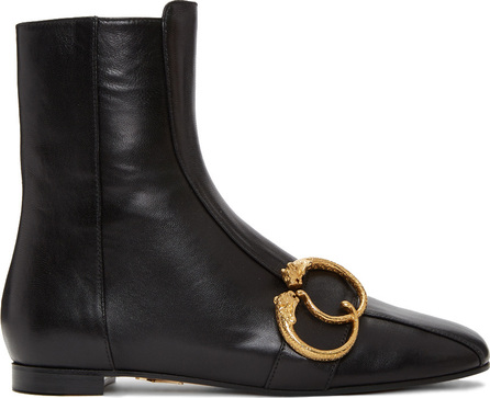 Charlotte Olympia Black Two Rings Leopard Ankle Boots