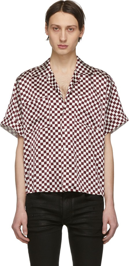 Enfants Riches Deprimes White & Burgundy Check Silk Button Down Shirt