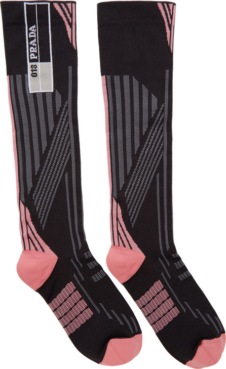Prada Pink & Black Logo Socks