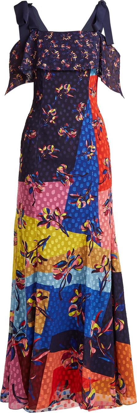 Mary Katrantzou Canasta floral and polka-dot fil-coupé gown