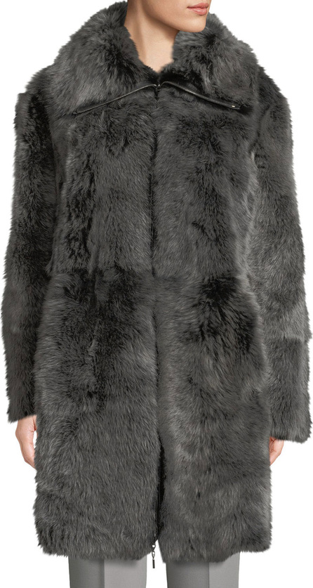 Emporio Armani Reversible Leather Shearling Fur Long Coat