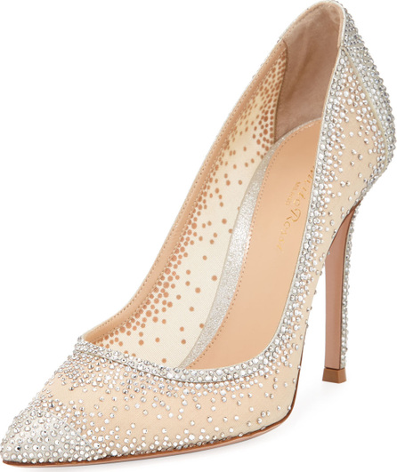 Gianvito Rossi Strass Pointed Metallic Pumps