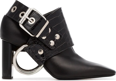 Alyx Black Sling 80 crocodile embossed leather boots