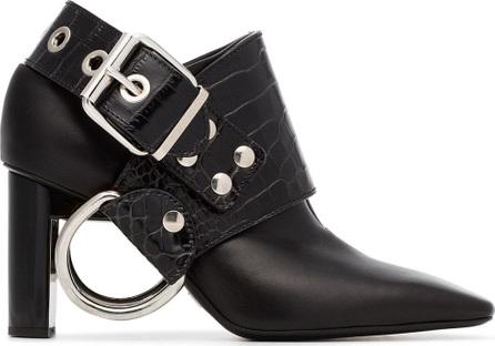 Alyx Black Sling 80 crocodile embossed leather boots