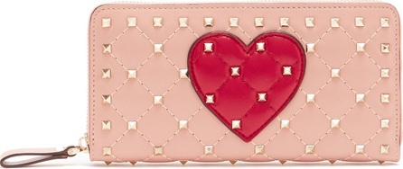 Valentino Rockstud heart-appliqué leather continental wallet