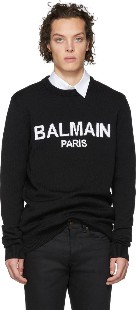 Balmain Black Virgin Wool Logo Sweater