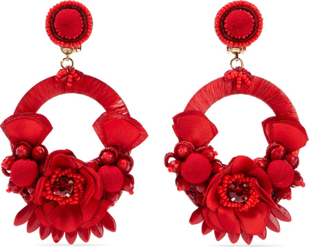 Ranjana Khan Raffia, pompom, bead and crystal clip earrings