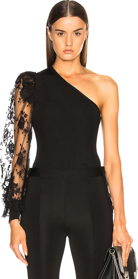 Givenchy Lace Sleeve One Shoulder Top
