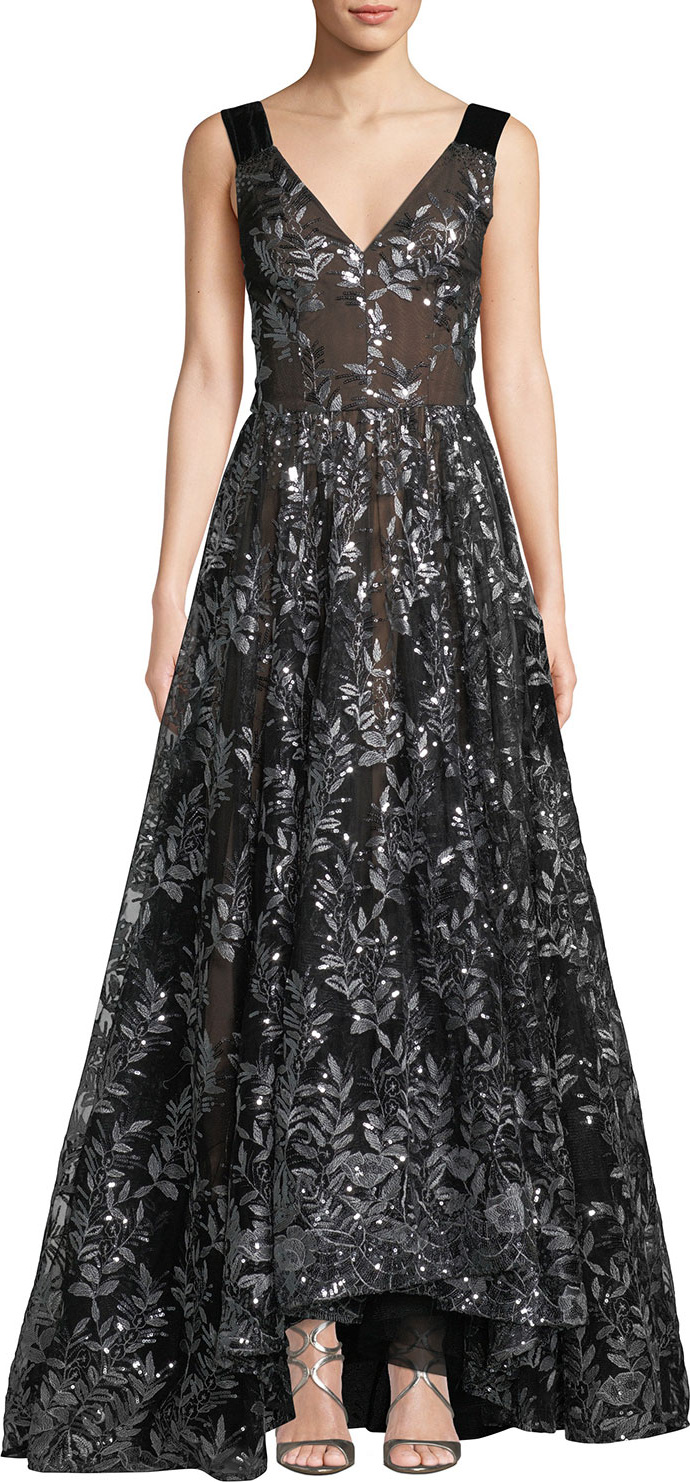 David Meister Sleeveless Embroidered Sequin Gown in Black - mkt