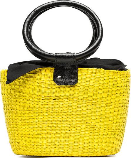 Sensi Studio Yellow and black basket mini straw bag