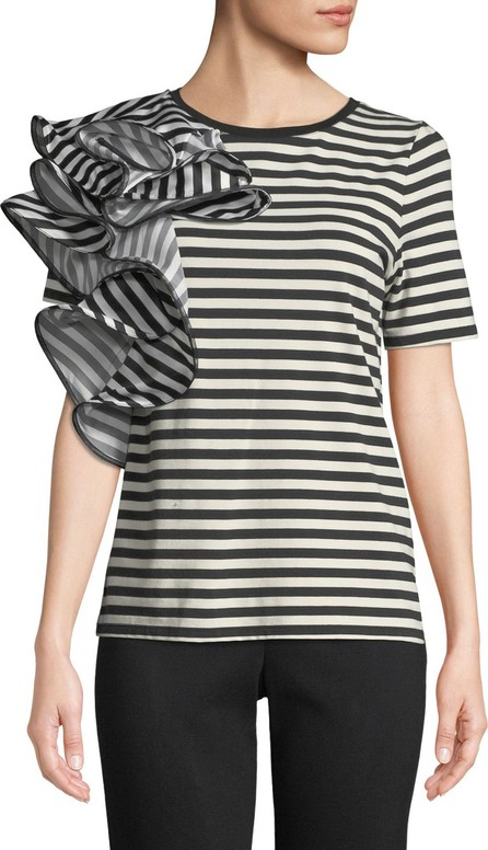 Badgley Mischka Striped Ruffle-Trim Short-Sleeve Tee
