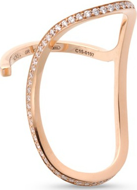 REPOSSI 'La Ligne C' diamond 18k rose gold lateral ring