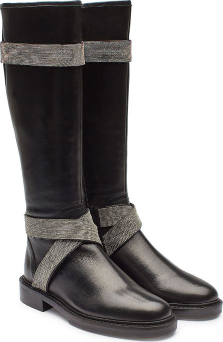 Steffen Schraut Leather Knee Boots with Embellishment