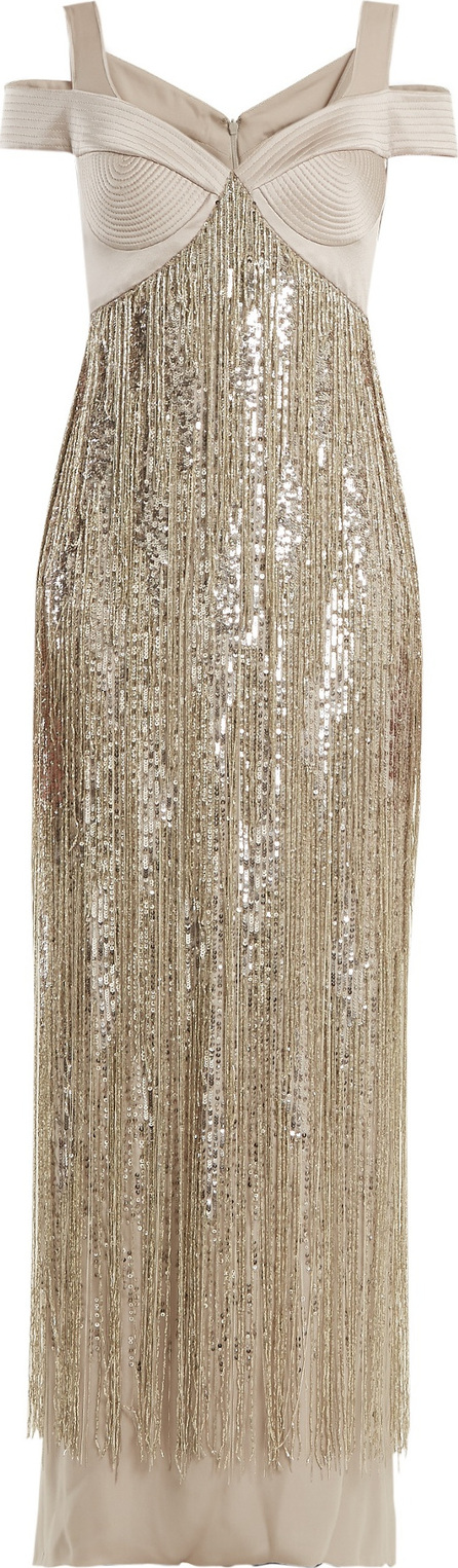 Versace Sweetheart-neck embellished silk gown