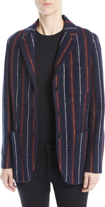 Loro Piana Notched-Collar Three-Button Striped Cashmere-Blend Boy Blazer