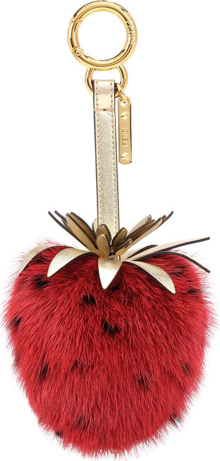 Fendi Strawberry mink fur bag charm