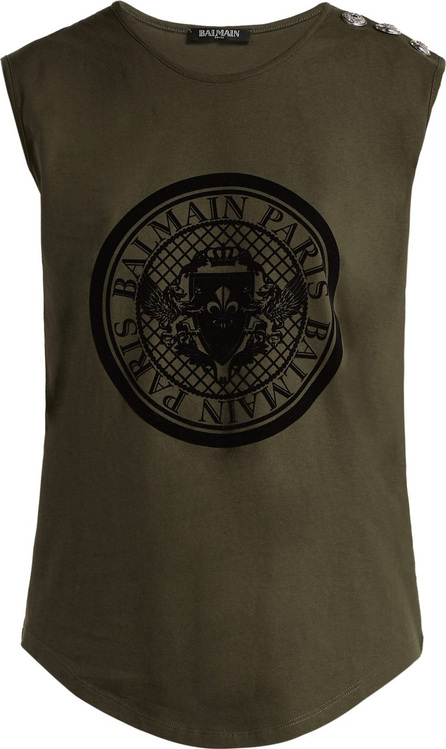 Balmain Coin-print cotton-jersey tank top