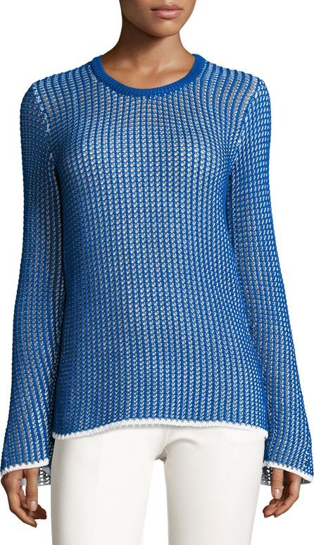 Derek Lam Mesh Long-Sleeve Crewneck Sweater, Blue/White
