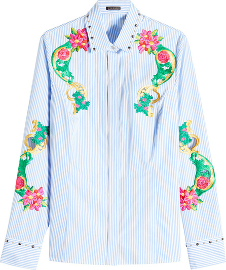 Versace Embroidered and Embellished Cotton Shirt