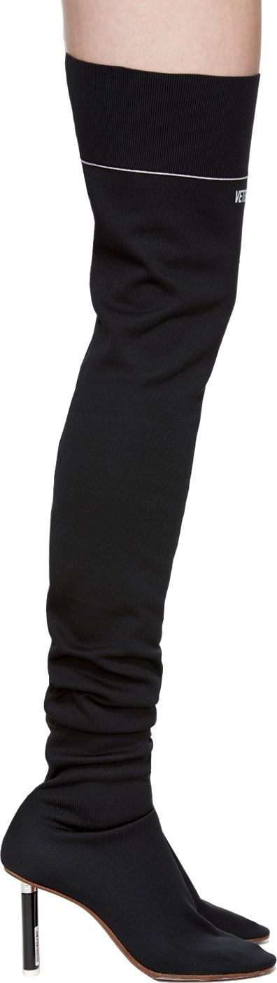Vetements Black Lighter Thigh-High Sock Boots
