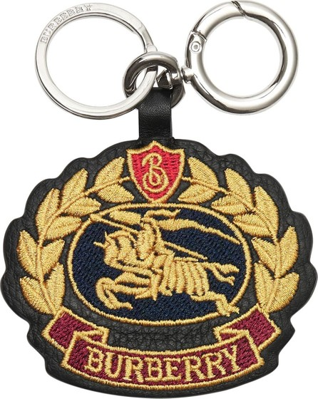 Burberry London England Embroidered Archive Logo Leather Key Charm