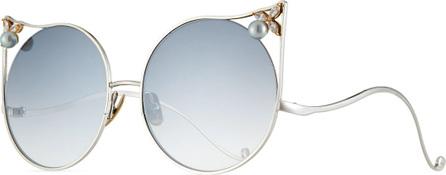 Anna Karin Karlsson The Moon Cat-Eye Sunglasses w/ Swarovski Crystal and Akoya Pearl Trim