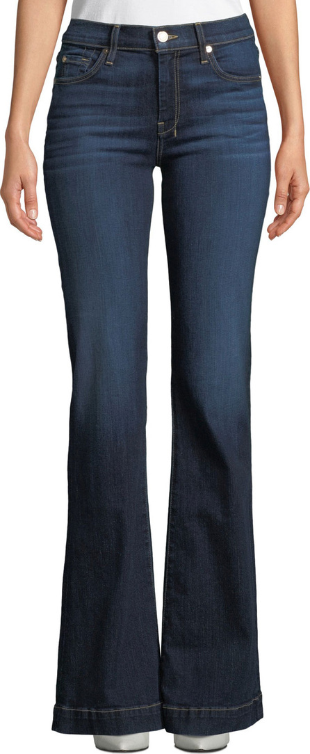 """7 For All Mankind Dojo Flared-Leg Dark-Wash Jeans with """"7"""" Pockets"""