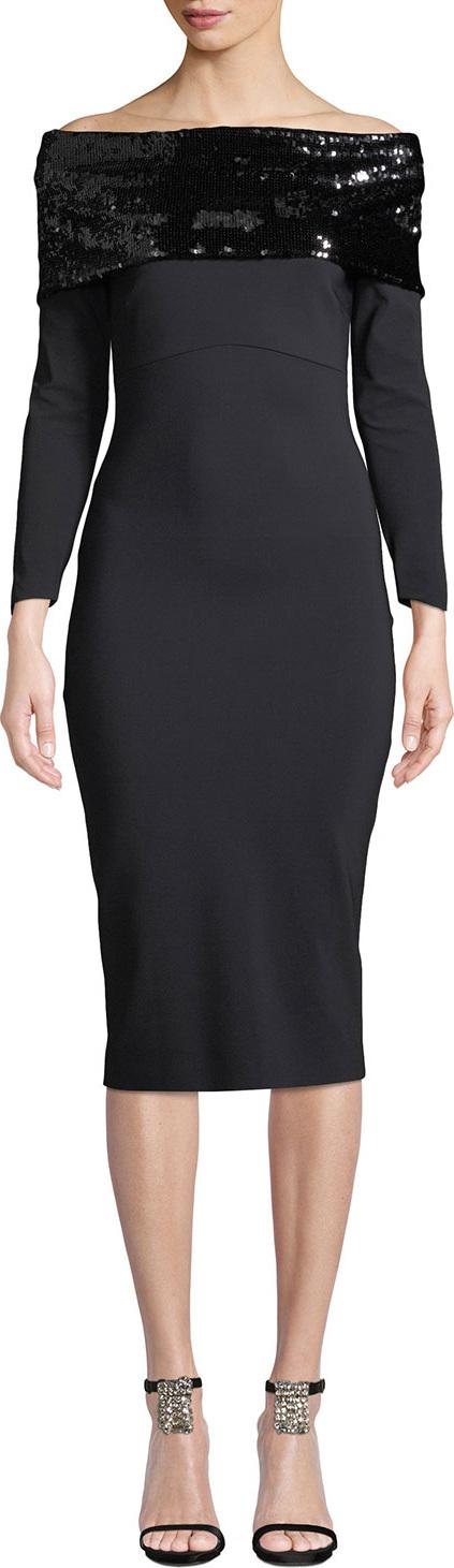 La Petite Robe di Chiara Boni Lipikette Sparkle Off-the-Shoulder Dress