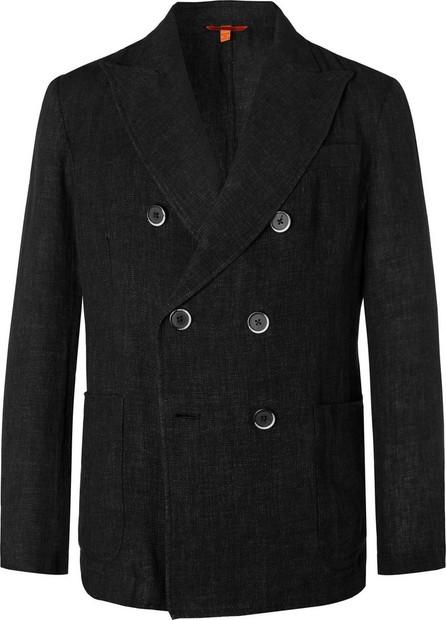 Barena Black Slim-Fit Unstructured Double-Breasted Mélange Linen and Cotton-Blend Blazer
