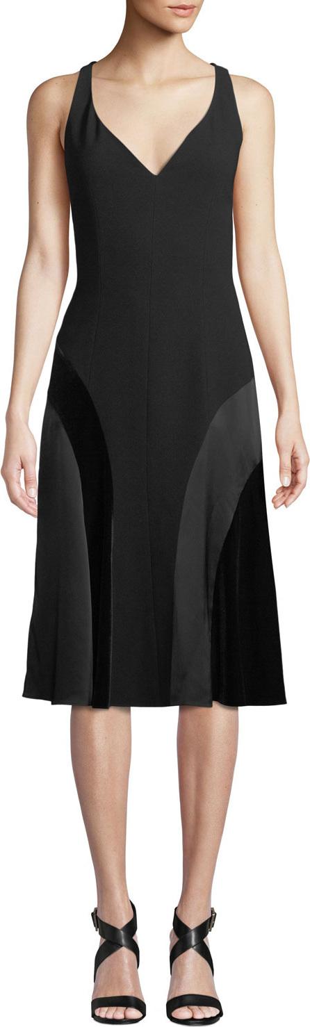 Elie Tahari Zaria V-Neck A-Line Dress