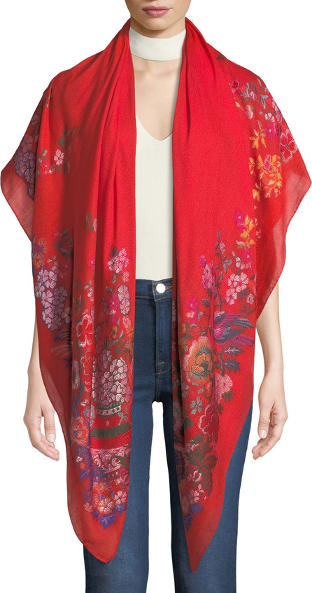 Etro Chinoiserie Floral Wool-Blend Scarf
