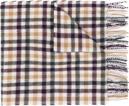 N.Peal Check knitted scarf