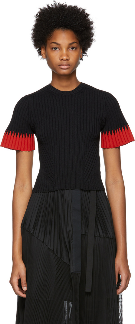 Alexander McQueen Black Ribbed Knit Sweater