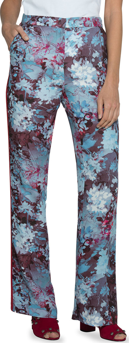 Eleventy Floral-Print Cady Pants