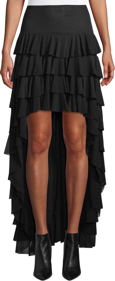 Norma Kamali Ruffle High-Low Mesh Skirt