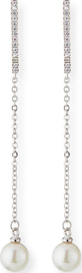 Fallon Pavé Pearly Thread Drop Earrings