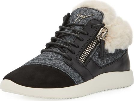 Giuseppe Zanotti Faux-Fur High-Top Trainer Sneakers