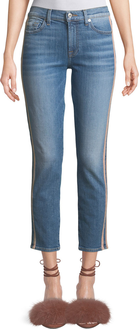 7 For All Mankind Roxanne Straight-Leg Ankle Jeans with Faux-Leather Stripes
