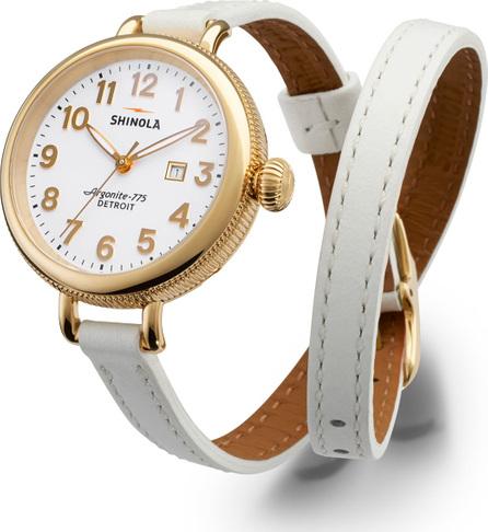 Shinola 34mm Birdy Golden Double-Wrap Watch, White