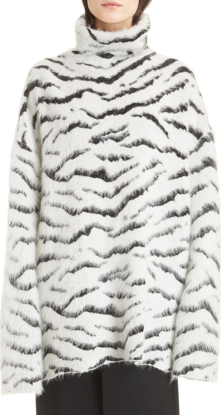 Givenchy Zebra Stripe Mohair & Wool Blend Turtleneck Sweater