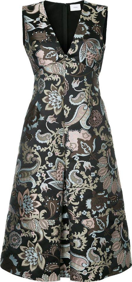Erdem brocade v-neck dress