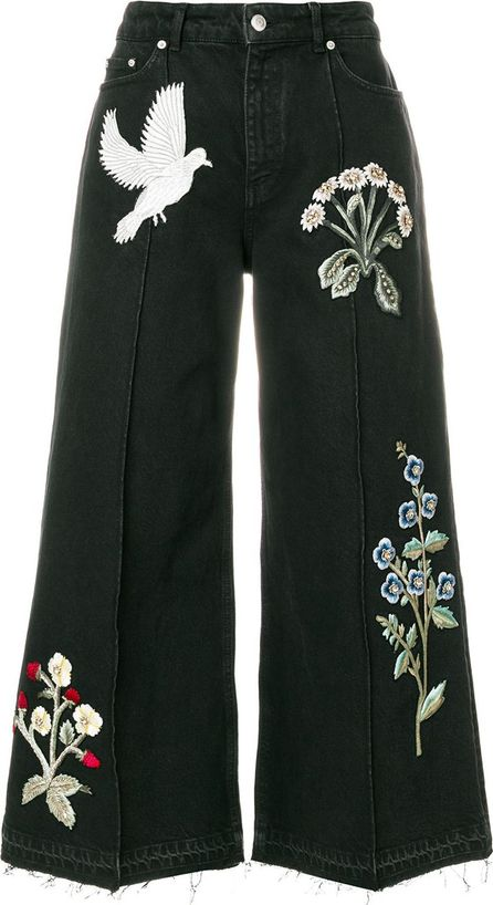 Alexander McQueen embroidered patch wide leg jeans